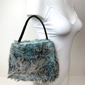 Small Faux Fur Purse, Grey Brown & Blue